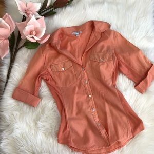 James Perse Peach Contrast Side Panel Button Down